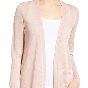 NWT Halogen PL pink linen long cardi